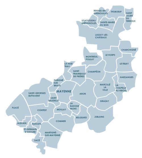 Le territoire de Mayenne Communauté compte 33 communes